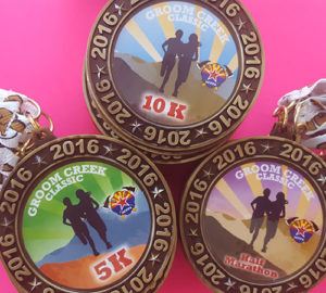 Each race distance will have a unique medal design. Awards to the top three in each age class.